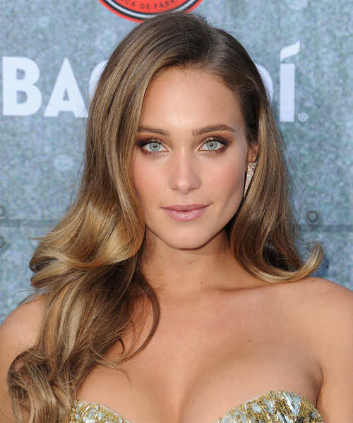 Hannah Davis Long Wavy Formal    Hairstyle   –  Chestnut Brunette Hair Color