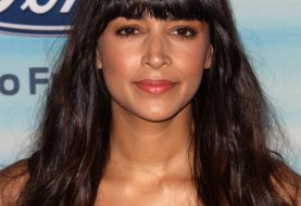 Hannah Simone Long Straight Casual    Hairstyle with Blunt Cut Bangs  - Dark Mocha Brunette Hair Color