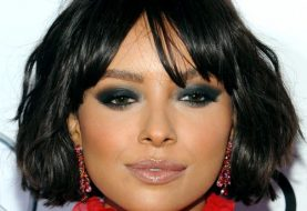 Kat Graham Short Wavy Casual Bob Hairstyle with Blunt Cut Bangs  - Black  Hair Color