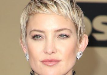 Kate Hudson Short Straight Casual  Pixie  Hairstyle with Razor Cut Bangs  - Light Ash Blonde Hair Color