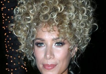 Leona Lewis Medium Curly Casual  Afro Updo Hairstyle   - Light Blonde Hair Color