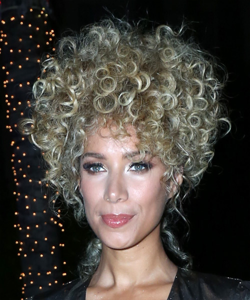 Leona Lewis Medium Curly Casual  Afro Updo Hairstyle   – Light Blonde Hair Color