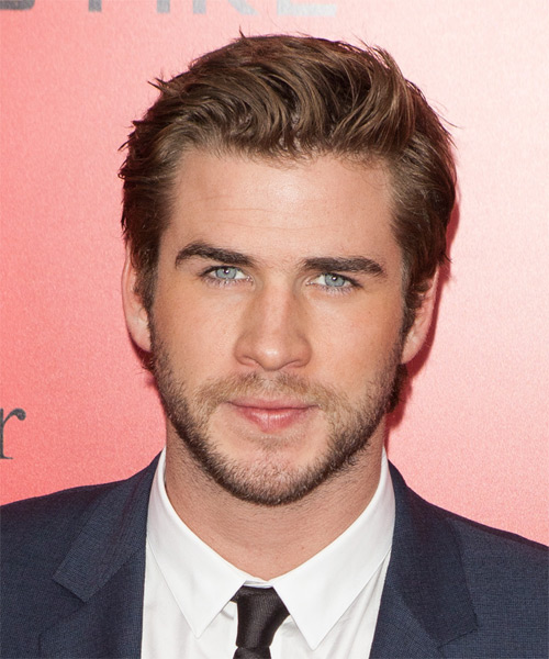 Liam Hemsworth Short Straight Casual    Hairstyle   -  Caramel Brunette Hair Color