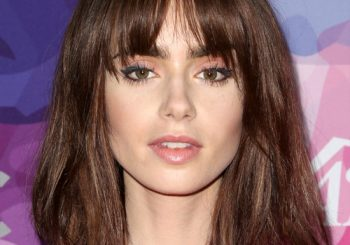 Lily Collins Medium Straight Casual  Bob  Hairstyle with Blunt Cut Bangs  -  Mocha Brunette Hair Color
