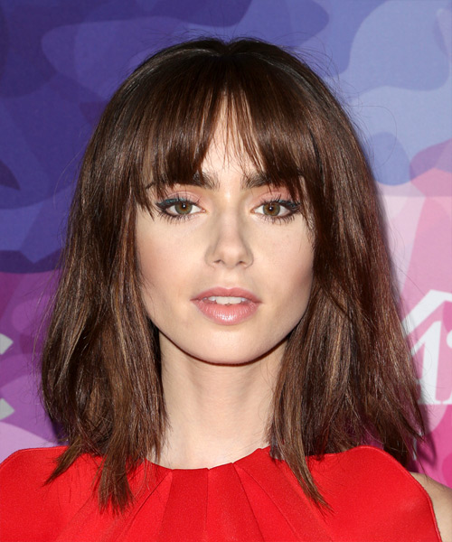 Lily Collins Medium Straight Casual  Bob  Hairstyle with Blunt Cut Bangs  –  Mocha Brunette Hair Color
