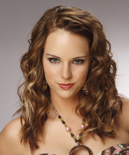 Long Curly Formal    Hairstyle  – Caramel Brunette Hair Color