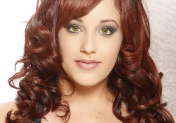 Long Curly Formal    Hairstyle with Side Swept Bangs  -  Red Hair Color