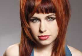 Long Straight Alternative    Hairstyle with Blunt Cut Bangs  - Dark Red and Orange Two-Tone Hair Color