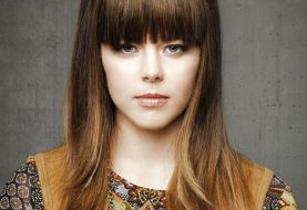 Long Straight Casual    Hairstyle with Blunt Cut Bangs  -  Brunette Hair Color