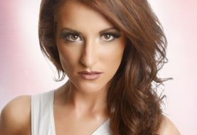 Long Wavy Casual    Hairstyle  - Auburn Brunette Hair Color with  Blonde Highlights