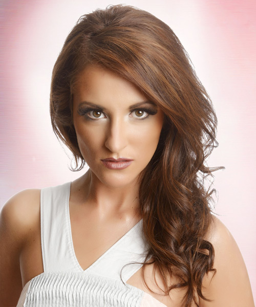 Long Wavy Casual    Hairstyle   –  Auburn Brunette Hair Color with  Blonde Highlights
