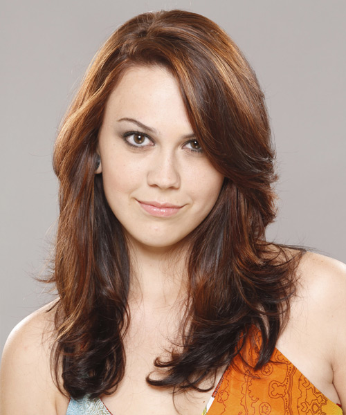 Long Wavy Casual    Hairstyle   –  Brunette Hair Color with Orange Highlights