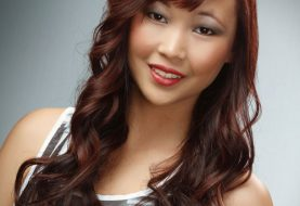 Long Wavy Casual    Hairstyle with Blunt Cut Bangs  - Dark Red Hair Color with  Red Highlights