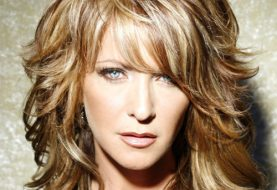 Long Wavy Casual    Hairstyle with Side Swept Bangs  -  Caramel Brunette Hair Color with Light Blonde Highlights