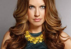 Long Wavy Formal    Hairstyle   -  Caramel Brunette Hair Color with Dark Blonde Highlights