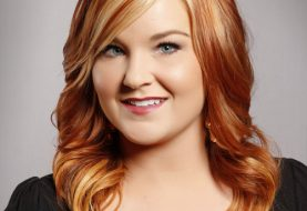 Long Wavy Formal    Hairstyle with Side Swept Bangs  -  Copper Red Hair Color with Light Blonde Highlights