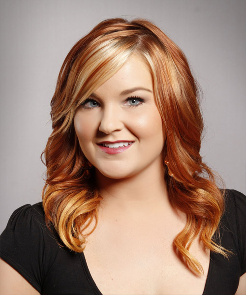 Long Wavy Formal    Hairstyle with Side Swept Bangs  –  Copper Red Hair Color with Light Blonde Highlights