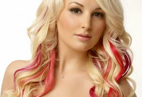 Long Wavy Formal    Hairstyle with Side Swept Bangs  - Light Blonde Hair Color with Light Red Highlights