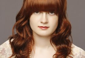 Medium Wavy Formal    Hairstyle with Blunt Cut Bangs  - Light Auburn Brunette Hair Color