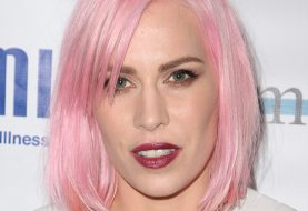 Natasha Bedingfield Medium Straight Casual Layered Bob  Hairstyle with Side Swept Bangs  - Pink  Hair Color