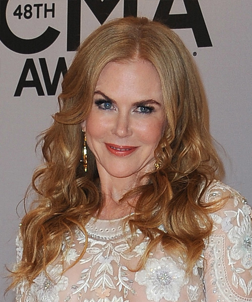 Nicole Kidman Long Wavy Formal    Hairstyle   – Light Copper Red Hair Color
