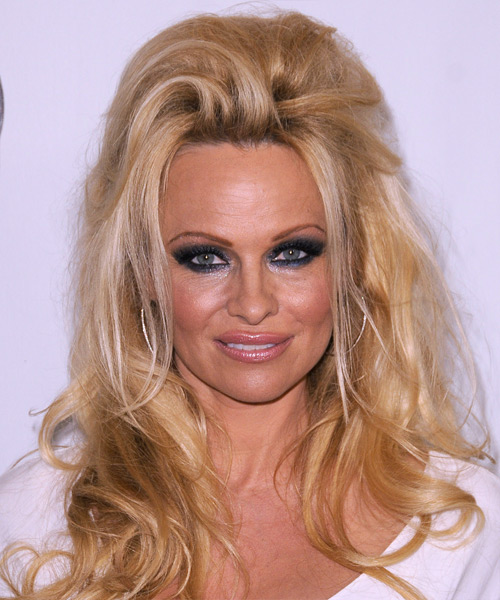 Pamela Anderson  Long Straight Casual   Half Up Hairstyle   -  Golden Brunette Hair Color