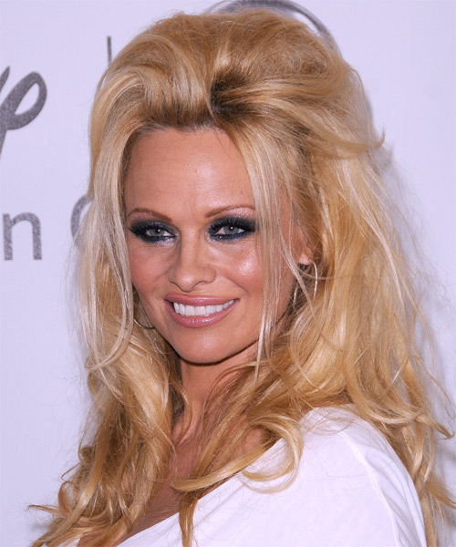 Pamela Anderson  Long Straight Casual   Half Up Hairstyle   -  Golden Brunette Hair Color - Side on View