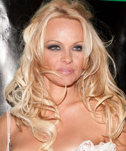 Pamela Anderson  Long Curly Casual   Half Up Hairstyle   - Light Strawberry Blonde Hair Color with Light Blonde Highlights