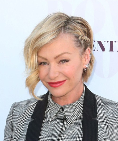 Portia De Rossi Short Wavy Formal   Half Up Hairstyle   - Light Blonde Hair Color - Side on View