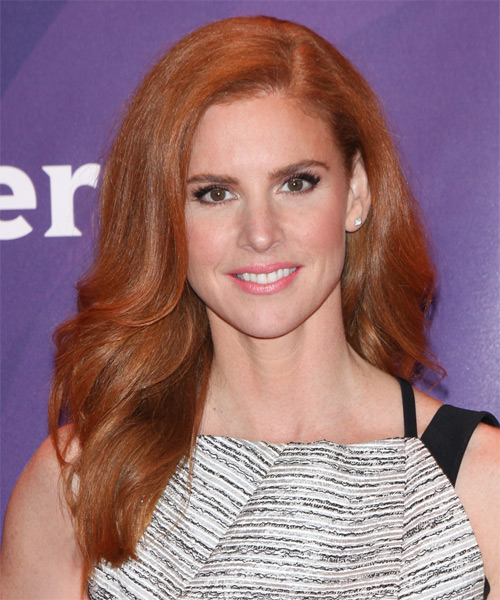 Sarah Rafferty Long Wavy Formal    Hairstyle   –  Ginger Red Hair Color