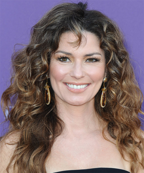 Shania Twain Long Curly Casual    Hairstyle with Layered Bangs  - Dark Brunette Hair Color