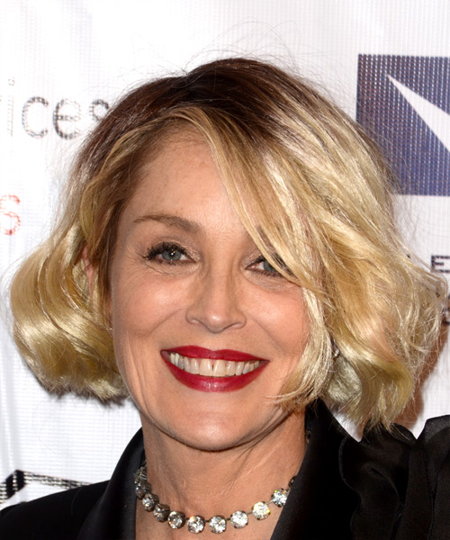 Sharon Stone Medium Wavy Casual Bob Hairstyle with Side Swept Bangs  – Light Blonde Hair Color