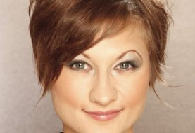 Short Straight Casual    Hairstyle   - Light Caramel Brunette Hair Color