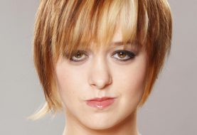 Short Straight Casual    Hairstyle with Razor Cut Bangs  - Caramel and Platinum Two-Tone Hair Color