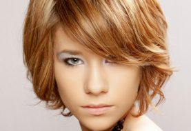 Short Straight Casual    Hairstyle with Side Swept Bangs  - Light Copper Brunette Hair Color with Light Blonde Highlights