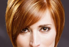 Short Straight Formal    Hairstyle with Side Swept Bangs  - Ginger Hair Color with Light Blonde Highlights