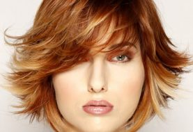 Short Straight Formal    Hairstyle with Side Swept Bangs  -  Red Hair Color with Light Blonde Highlights