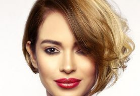 Short Wavy Casual  Bob  Hairstyle  - Brunette and Light Blonde Two-Tone Hair Color