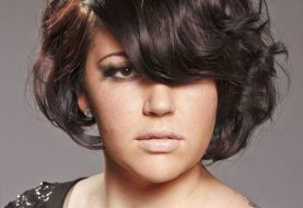Short Wavy Casual    Hairstyle with Side Swept Bangs  - Mocha Hair Color