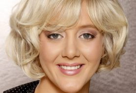 Short Wavy Formal    Hairstyle with Side Swept Bangs  - Light Platinum Blonde Hair Color