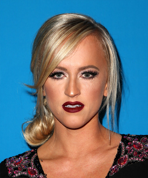 Summer Rae Long Straight Formal Updo Hairstyle with Side Swept Bangs – Light Blonde Hair Color