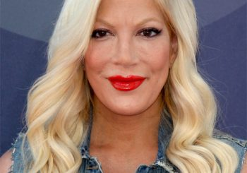 Tori Spelling Long Wavy Formal    Hairstyle   - Light Blonde Hair Color