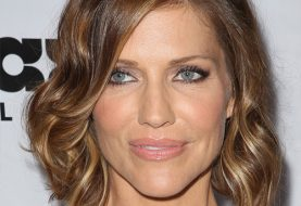 Tricia Helfer Medium Wavy Casual  Hairstyle  - Caramel Brunette Hair Color with  Blonde Highlights